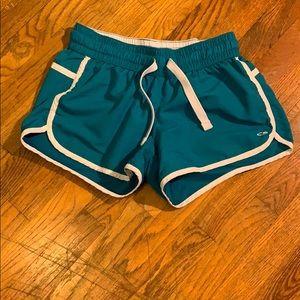 Blue running shorts